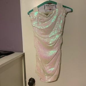 Nicole Miller Iridescent White Sequin Dress